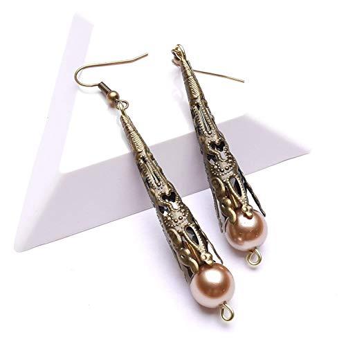 Bronze Ohrringe, Bronze Ohrhänger mit böhmischen Glasperlen, Silberohrringe, lange Ohrringe, Geschenkidee für die Frau