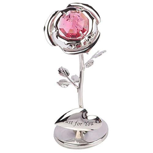 ABCBCA Caballamiento 24k Crystal Rose Gold Rose Rose Base de Cristal Decoración de la cúpula Best Regalo para el Día de la Madre Día de San Valentín Regalo (Color : No Base B)