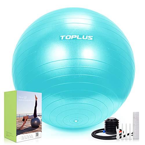 TOPLUS Gymnastikball Sitzball Extra Dicker Yoga-Ball-Stuhl, Anti-Berst-Stabilitätsball für hohe Beanspruchung, Balance Ball mit Schnellpumpe-Türkis&65cm