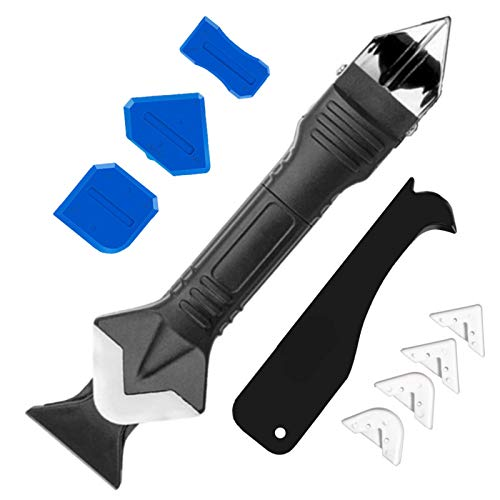 Caulking Tool 3 in 1 Silicone Caulking Finishing Tool kit with Sealant Scraper(stainless steelhead) Caulk tool& Scraper Tool kit Great Caulk Tool kit for Kitchen Bathroom Window Sink Joint