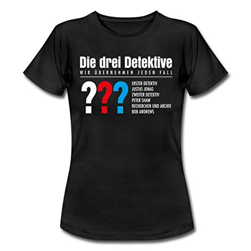 Die DREI Fragezeichen Detektive Visitenkarte Frauen T-Shirt, M, Schwarz