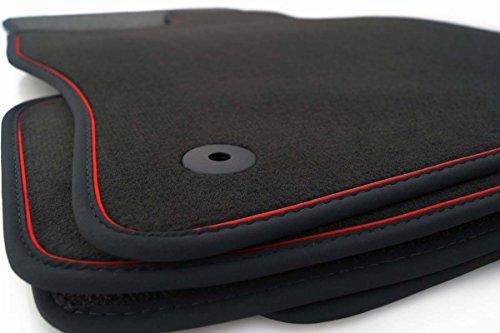 Fußmatten Astra J (Rotes Zierband) Velours Premium Automatten Schwarz/Rot 4-teilig