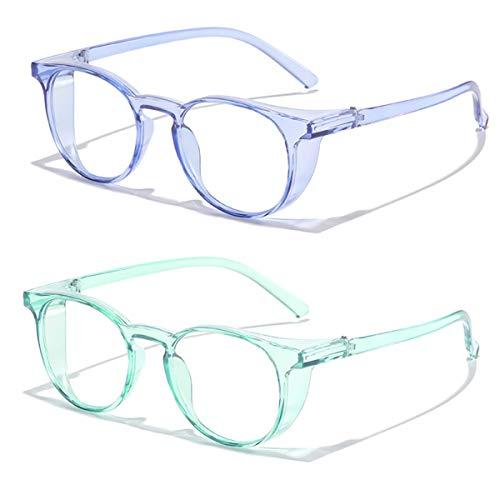 2 unids anti-niebla anti polen gafas protectoras azules Bloqueo de luz Gafas de seguridad con escudos laterales Lente de potencia cero Anti UV Protección adecuada para hombres mujeres ⭐