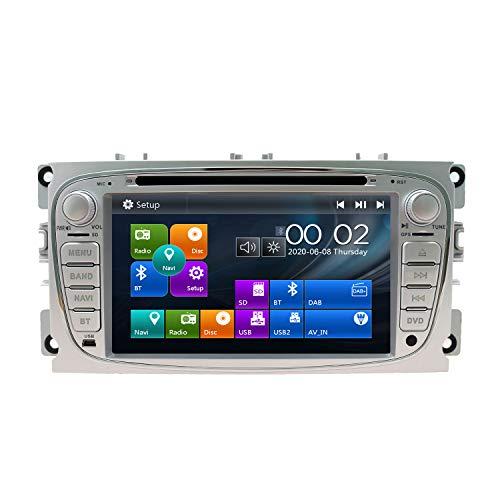 SWTNVIN Radio estéreo para Coche Compatible con Ford Mondeo Focus Fusion Transit Fiesta Galaxy 7 Pulgadas GPS Navigator Doble DIN Unidad de Cabezal Soporte Video Bluetooth SWC DVD Player (Plata09)