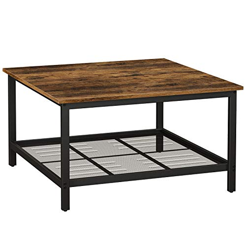 VASAGLE INDESTIC Coffee Table, Square Cocktail Table with Steel Frame and Mesh Storage Shelf
