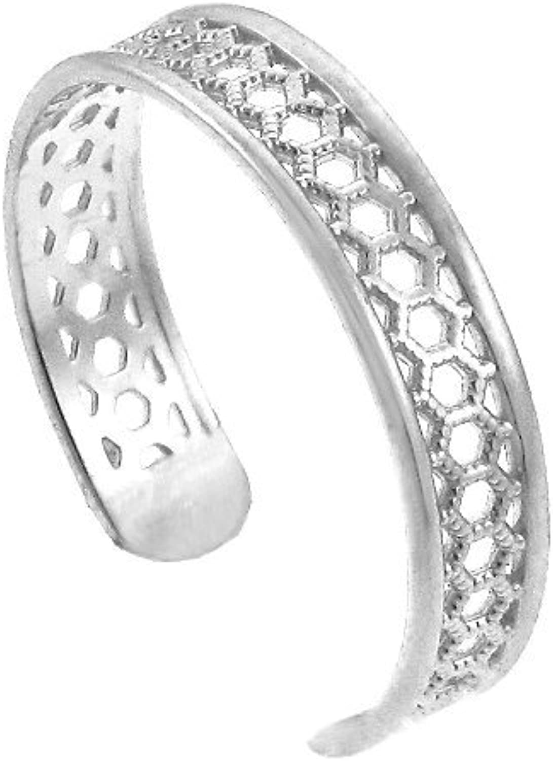 14k White gold Medieval Motif Chainmail Toe Ring