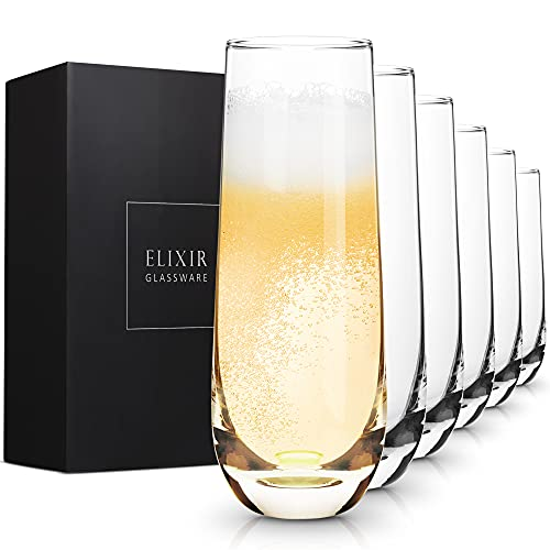 Stemless Champagne Flutes - Crystal Glass Flutes, Hand Blown - Set of 6...