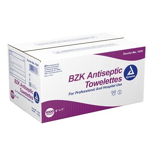 Dynarex BZK Antiseptic Towelettes 5' x 7' 1000/cs Bulk