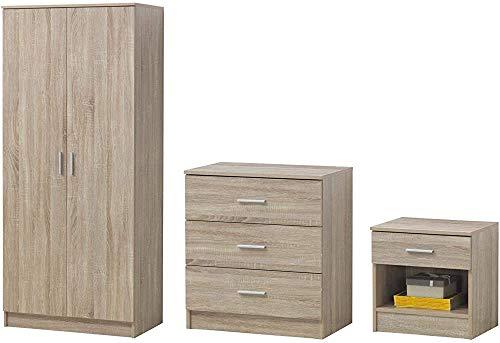 3-Zimmer-Sitzgruppe Schrank, Kommode, Nachttisch,Oak