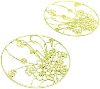 perlesmania.com AE112343 Lot de 4 Estampes Pendentif Filigrane Grappe de Fleurs Blanc 35 par 16mm