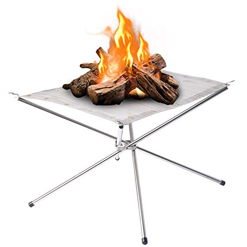 Large Portable Outdoor Fire Pit : Collapsing Steel Mesh Fireplace - Perfect for Camping, Backyard and Garden - Carrying Bag Included