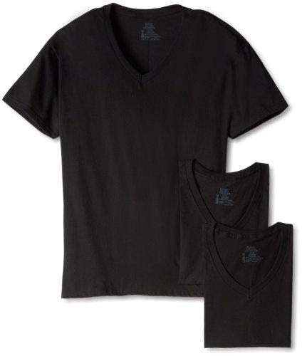 Hanes Ultimate Men's 3-Pack V-Neck Tee, Black, X-Large