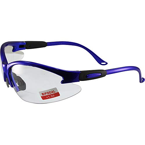 Global Vision Contender Bifocal Safety Glasses Blue Frame Clear +1.5 Lens ANSI Z87.1