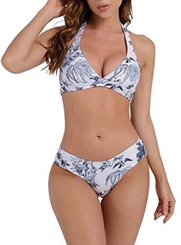 UMIPUBO Bikinis Mujer Push Up Halter Bikini Traje de baño Conjunto de Bikini de Play Acolchado Bra Tops y Braguitas Dos Piezas Bikini Sets Talla Grande Bañador