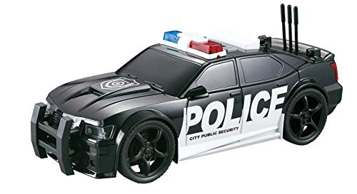 Tuk Tuk Brand Friction Powered Police Car Toy Best Plastic Pursuit Rescue Vehicle with Sirens Sound and Light for Kids 1:20