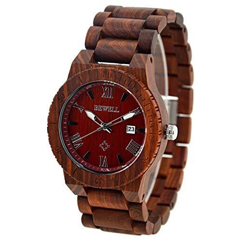 Relojes Reloj de Movimiento de Cuarzo japonés de Madera Hecho a Mano para Hombres Reloj de Pulsera de sándalo Rojo, Relojes Hom
