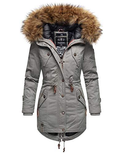 Marikoo warme Damen Winter Jacke Winterjacke Parka Mantel Kunstfell Kapuze B813 [B813-Lav-Pri-Hellgrau-Gr.XXL]