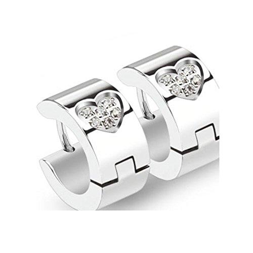 Aros pendientes con setted piedra zirconia pendientes acero inoxidable 1 corazón de cristal par Plata para Mujer