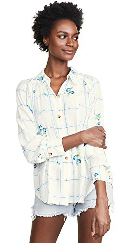 Free People Women's Window to My Heart Button Down, White, Small