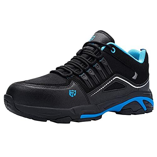 LARNMERN Scarpe Antinfortunistiche Uomo S3 Scarpe da Lavoro con Punta in Acciaio Traspiranti Scarpe Sportive di Sicurezza 47,Nero Blu