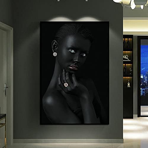 FFLSDR Pinturas en Lienzo Arte Africano Mujer Negra con Joyas Arte de la Pared Carteles Impresiones Cuadros de la Pared Sala de Estar Decoración del hogar 70x100cm Sin Marco