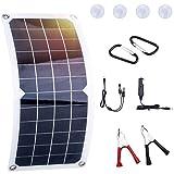 LESOLEIL Panel Solar Sistema Kit Policristalino Solar Módulo fuera de la red para RV Barco Inicio Jardín - 12V 10 Watt con clip de cocodrilo Adaptador de reserva fuera de la red