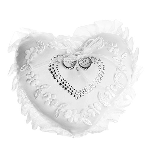 "Beautyflier Kloud City 7"" Wedding Ring Cushion Heart Embroidery Flower Lace Trim Ribbon Bridal Ring Bearer Pillow Party Favor"