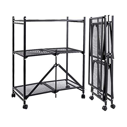 Trolley 3-Tier Storage Shelving Unit With Wheels, Perforated Sheet Layer Foldable Metal Rack Freestanding For Garage Kitchen LIUNA(Color:Black)
