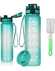 flintronic 1000 ml Lekvrije Beste Sport Waterfles Lek Proof, BPA Gratis Tritan Plastic Milieuvriendelijke Drinkflessen met Filter & Time Marker, One Click Flip Deksel, Deksel voor Gym Yoga Fitness Camping