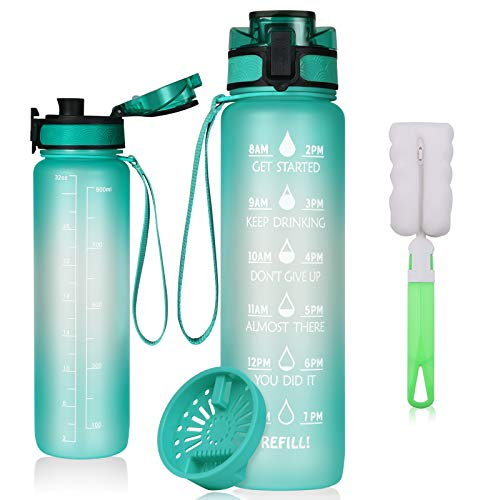 flintronic Botella de Agua Deportiva,1L con Marcador de Tiempo Motivacional, Sin BPA Water Bottle Frosted, Frosted Ligero Bidon de Bebidas Plástico para Adultos Sport, Gimnasio,Trekking, Azul Claro