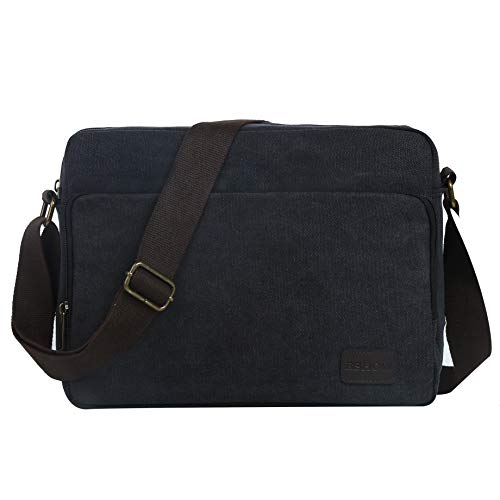 Eshow Men Messenger Bag Canvas Shoulder Laptop Bag for Men 14 inch Tablet Messenger Briefcase Work MacBook Pro Crossbody Bag Satchel for Casual Business School Travelling