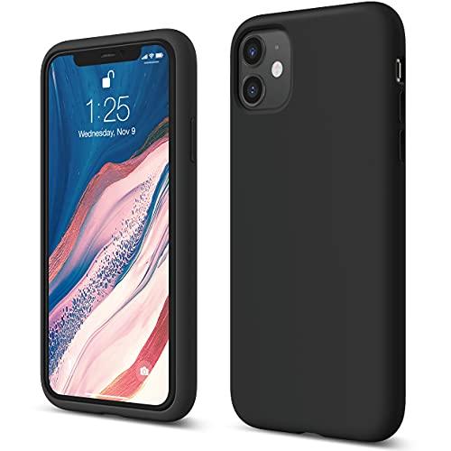 """Elago Silicone Liquido Custodia Cover Compatibile con iPhone 11 Case (6.1""""), Silicone Liquido Premium, Protezione Full Body : Case Antiurto 3 Strati (Nero)"""