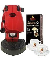 macchina da caffè frog con porta accessori + 18 cialde aromagic + 2 tazzine