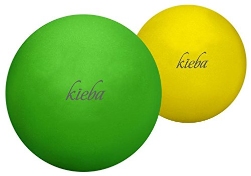 stability ball for yogas Kieba Massage Lacrosse Balls for Myofascial Release, Trigger Point Therapy, Muscle Knots, and Yoga Therapy. Set of 2 Firm Balls (Green and Yellow)