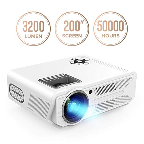 DBPOWER Projector, 3200 Lumens LCD Video Projector, Multimedia Portable Home Theater Projector Support 1080P Compatible With 2 HDMI 2 USB SD VGA AV for Home Cinema TV Laptop Game Phone