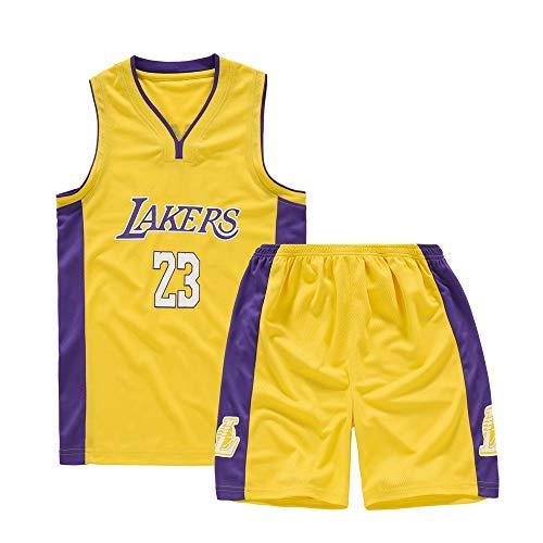 XCR Kids Boys Girls Men Adulti NBA Lebron James #23 LBJ LA Lakers RETRO Basketball Jerseys Tute estive Kits top + pantaloncini 1 set (giallo, M (bambini)
