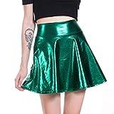 hibote Falda de Cintura Alta de Las Mujeres de Piel Sint/ética Clubwear Mujeres S/ólido El/ástico Paquete de Cuero Falso Bodycon Mini Falda
