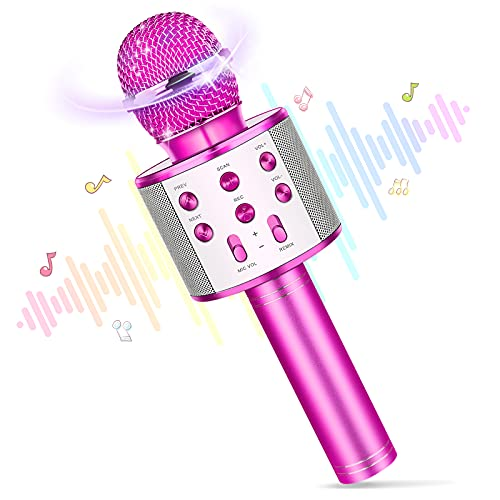 Karaoke Mikrofon Kinder,Spielzeug ab 4 5 6 7 8 9 10 11 12 Jahre Mädchen Geschenk Mädchen 4-12 Jahre Weihnachten Geschenk für Kinder Spielzeug ab 4-12 Jahre Jungen Bluetooth Mikrofon Geschenk Junge 5 6