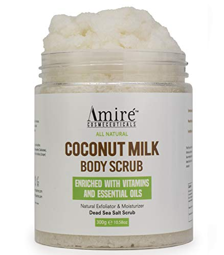 Coconut Milk Scrub For Body And Face. 100% Pure Dead Sea Salt Exfoliating and Moisturizing Scrub For Cellulite Stretch Marks, Acne and Vitamin E
