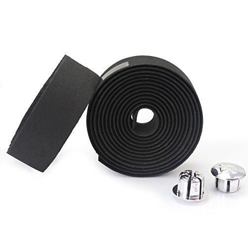 Des Mall 2 Fahrrad Radfahren Cork Lenker Tape Wrap mit 2 Bar Stecker Wasserdicht Schwarz