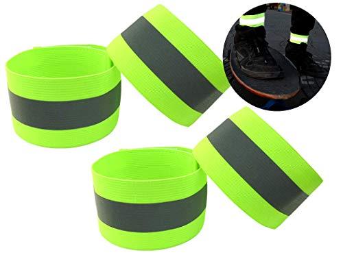 Ongear Premium Reflektorband mit erhöhter Sichtbarkeit   Klettverschluss Elastisch für Erwachsene Kinder Joggen Fahrrad Reiten Hosenklammer Outdoor Leuchtband Knöchel   Reflexfolie Neon-Gelb