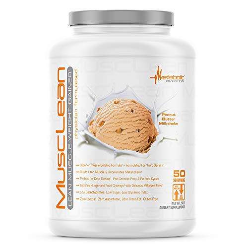 Metabolic Nutrition - Musclean - Milkshake Weight Gainer, Whey High Protein Meal Replacement, Maintenance Nutrition, Low Carb, Keto Diet, Digestive Enzymes, Peanut Butter, 5 Pound (50 ser)