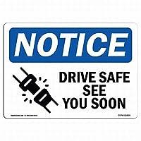 壁アート装飾OSHA通知標識-ドライブセーフすぐにサインを参照してください錫標識金属標識通知安全セキュリティサイン通り装飾