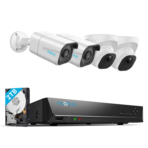 REOLINK 8MP 8CH POE Security Camera System, 4pcs 4K H.265 Outdoor PoE IP Security Cameras, 8-Channel NVR with 2TB HDD for 24x7 Video Surveillance and Recording for Home and Business, RLK8-800B2D2