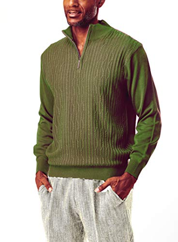 STACY ADAMS Men's Sweater, Solid Cable Knit Twist (X Large, Mocha)