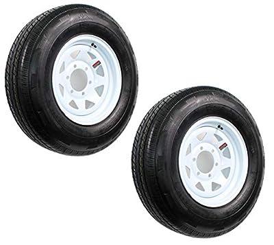 Two Trailer Tires On Rims ST225/75D15 H78-15 225/75-15 D 6 Lug White Spoke Wheel