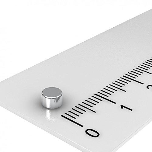 100 x Neodym Scheiben Magnet, 4 x 2.5 mm, vernickelt, Grade N35H, Temperaturbereich bis 120°C, für Modellbau