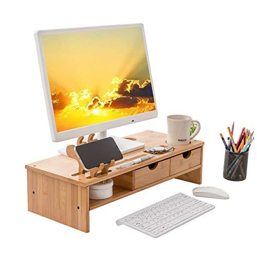 デスクトップシェルフ パソコン台 机上台 キーボード収納 木製 机上ラック デスクトップシェルフ モニター台 パソコン台 卓上ラック 卓上収納 組立簡単 日本語説明書付き (color3, フリーサイズ)