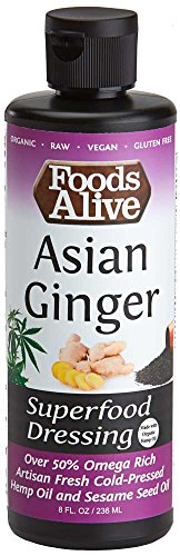 Foods Alive Asian Ginger Salad Dressing, Organic Superfood Dressing Made With Artisan Cold-Pressed Black Sesame Oil - Keto-friendly, Non-GMO, Gluten-Free, Plant-based, 8oz