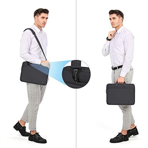 MOSISO Laptop Hülle Tasche Kompatibel mit MacBook Pro 16 Zoll, 15 15,4 15,6 Zoll Dell Lenovo HP Asus Acer Samsung Chromebook,360 Schutz Wasserabweisende Schultertasche mit Trolley Gürtel,Space Grau